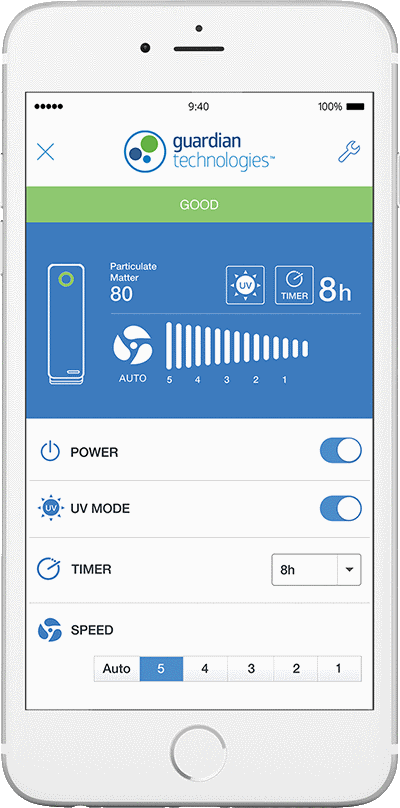 GermGuardian air purifier smart phone app example