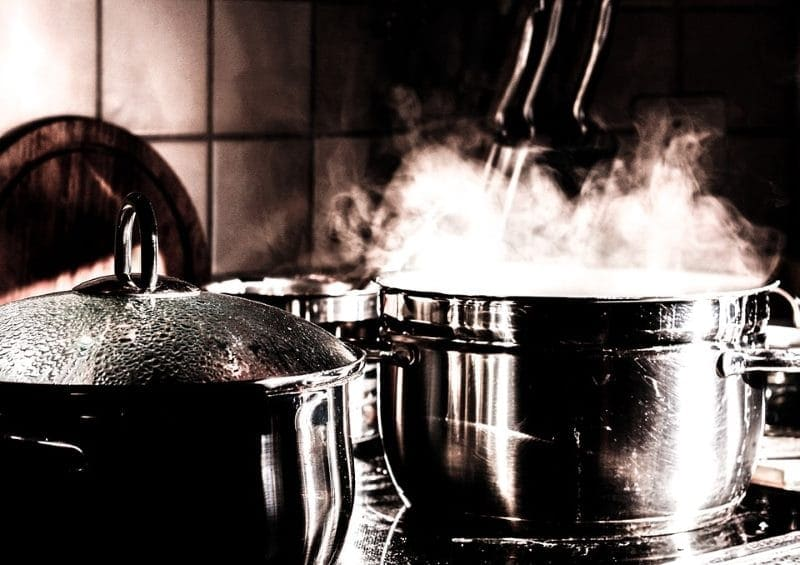 Image of smoke from cooking in kitchen on stove top