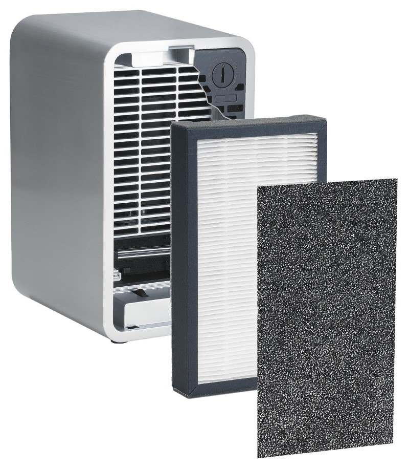 Image of a GermGuardian AC4100 showing HEPA and activated carbon filters