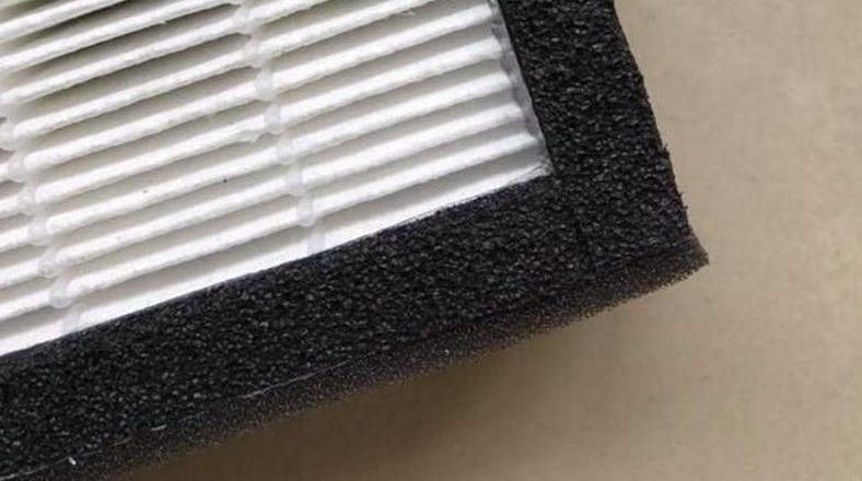 Air purifier HEPA filter material example close up