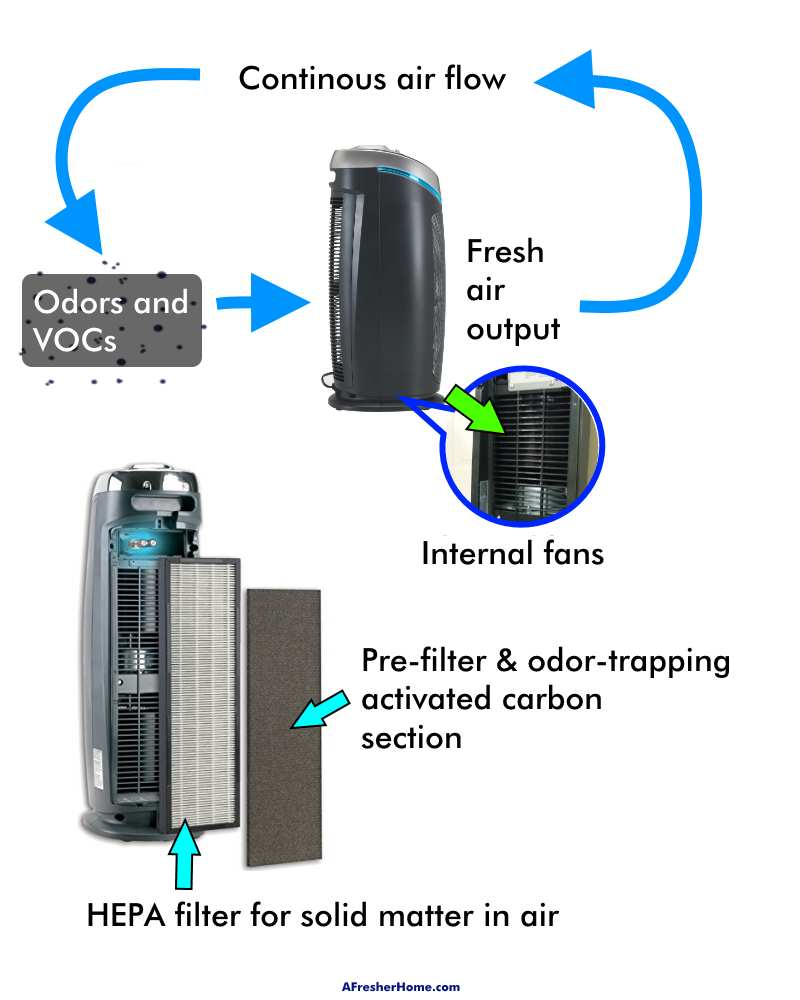 Diagram showing how air purifier reduces odors