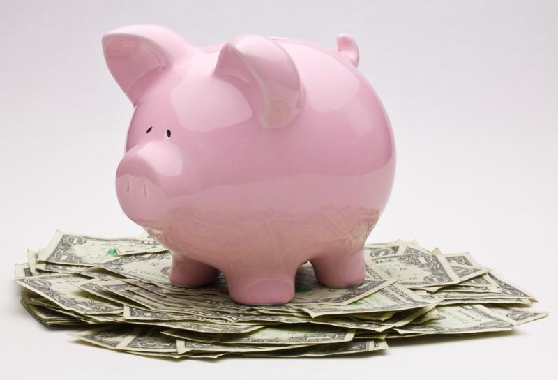 Piggy bank image with money