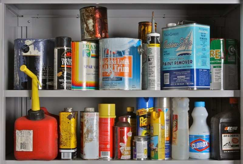 Image of household chemicals on a shelf