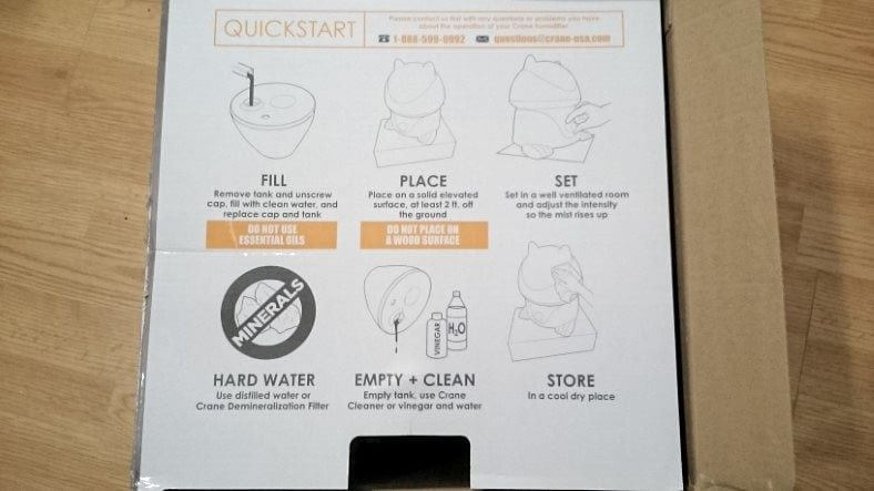 Crane elephant humidifier box open showing starting instructions