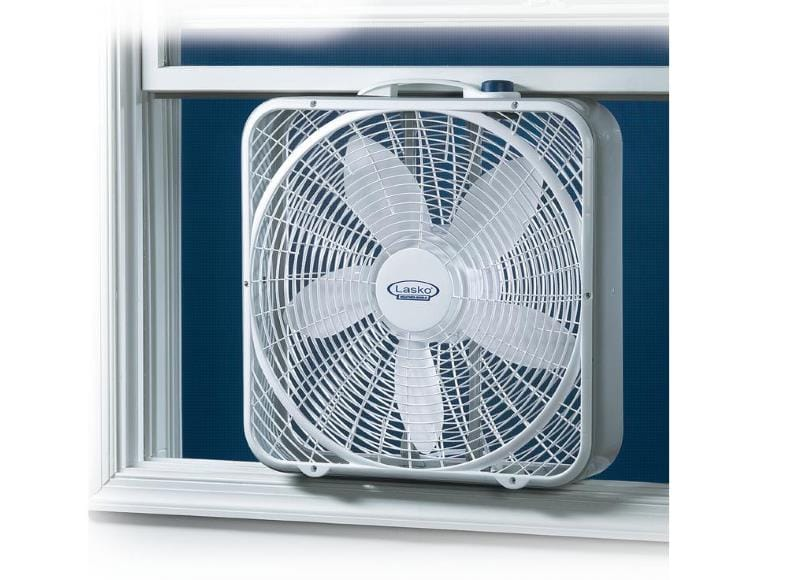 Lasko 3720 Weather Shield box fan in window