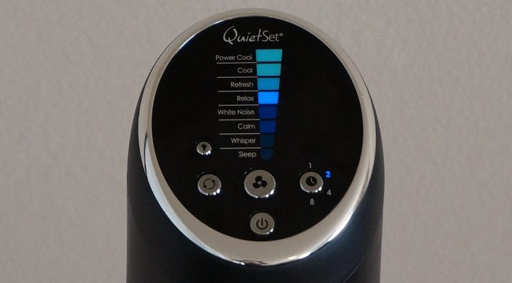 Honeywell Quietset tower fan controls image