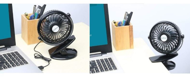 SkyGenius clip-on fan desk use examples