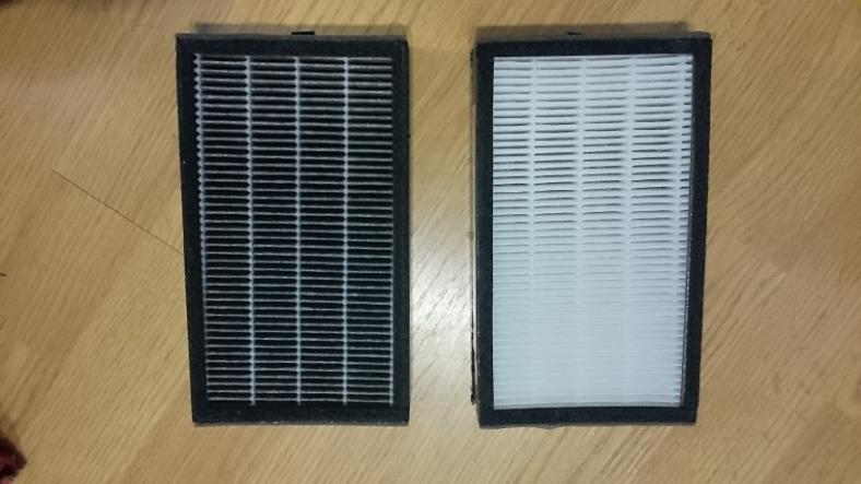 AC4100 dirty vs unused HEPA filters comparison