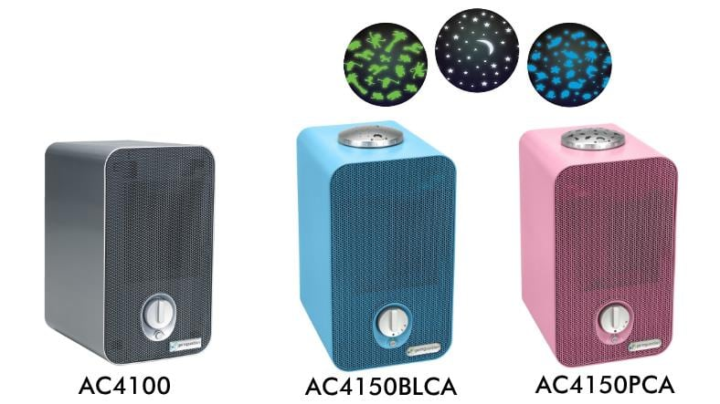 GermGuardian AC4100 vs AC4150BLCA vs AC4150PCA comparison image