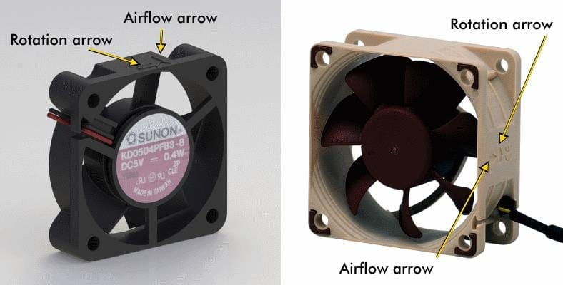 Illustrated image of computer fan air flow direction