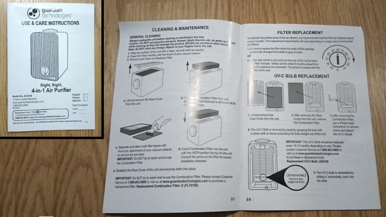 GermUuardian AC4100 owners manual image
