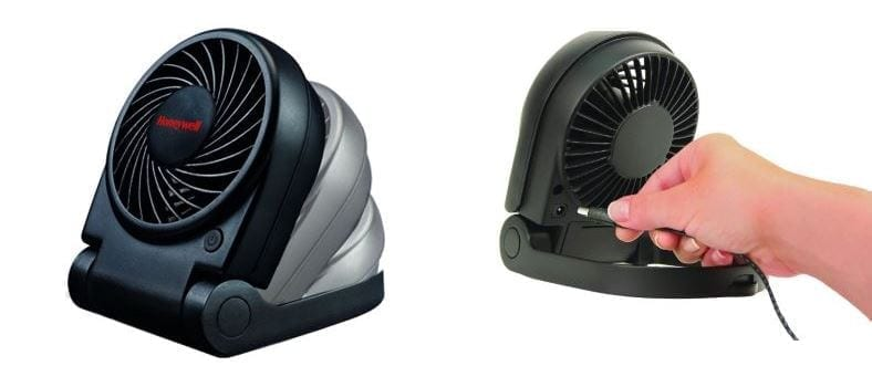 Honeywell HTF090B Turbo On the Go portable fan side and rear views