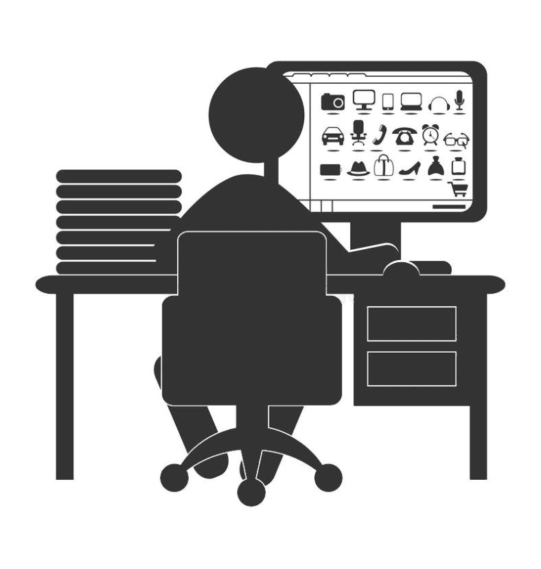 Clip art man shopping online at desk silhouette