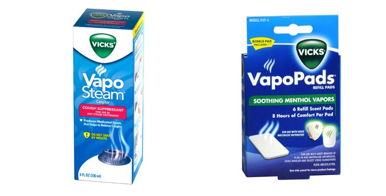 Vicks humidifier vapor liquid and pads example