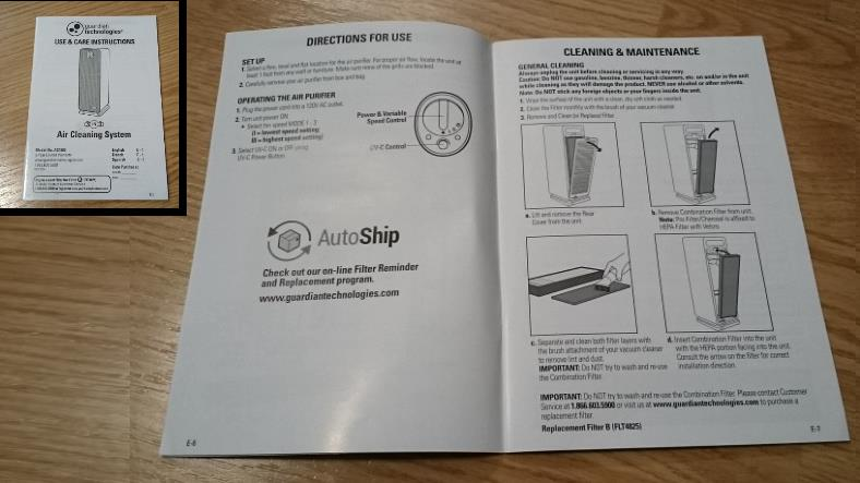 GermGuardian AC4900CA owners manual image