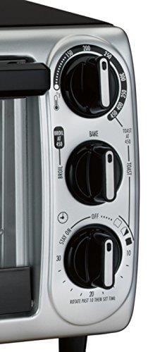 Toaster oven controls closeup image