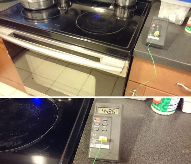 Conventional oven preheat time measurement setup