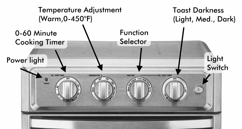 Cuisinart TOA-60 oven controls illustrated diagram