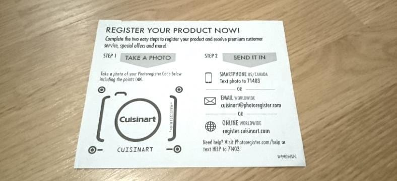 Cuisinart product registration card image