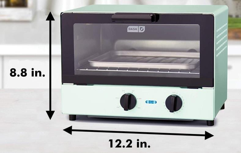 Dash Compact toaster oven size diagram