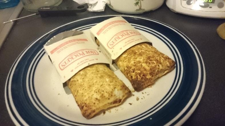 Image of fresh cooked Hot Pockets from a toaster oven