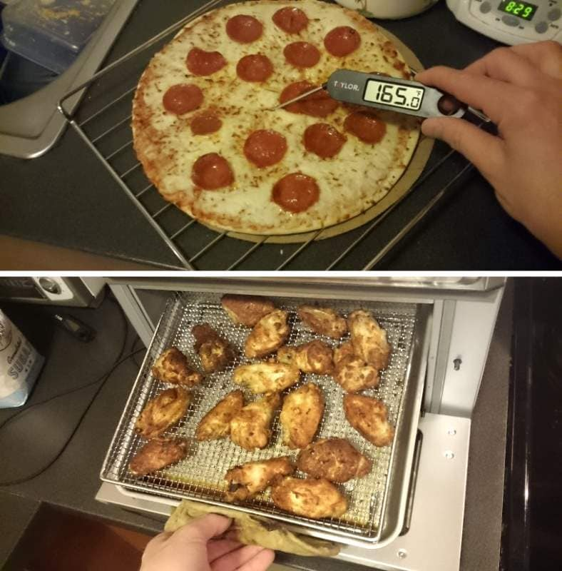 Toaster oven cooked foods example (pizza, wings)