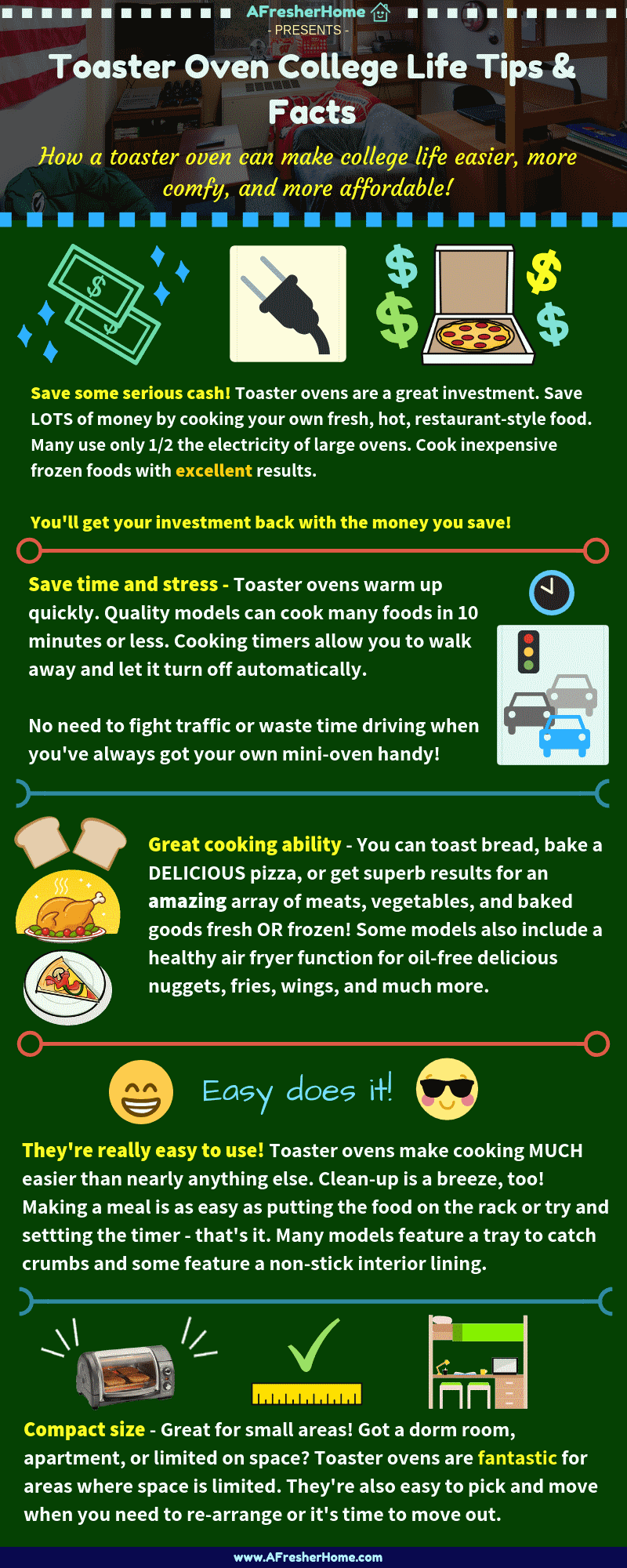 Toaster ovens for college tips and facts infographic
