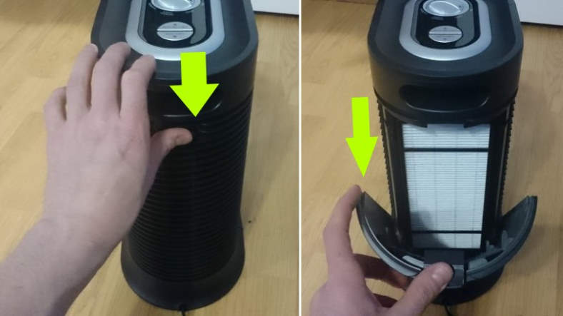 Diagram showing how to open rear cover on the Honeywell HPA060