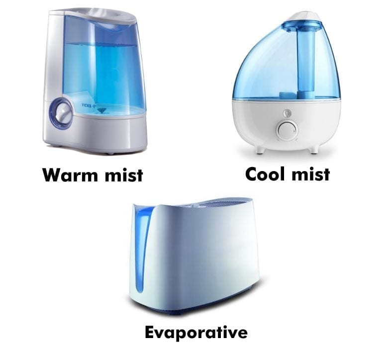 Image with examples of the 3 main types of humidifiers
