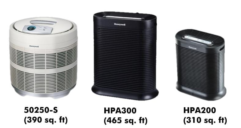 Honeywell 50250-S vs HPA300 vs HPA200 comparison image