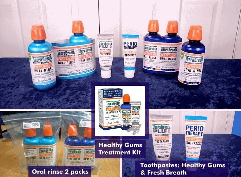 Collage image showing the products covered in this TheraBreath oral rinse and toothpaste review