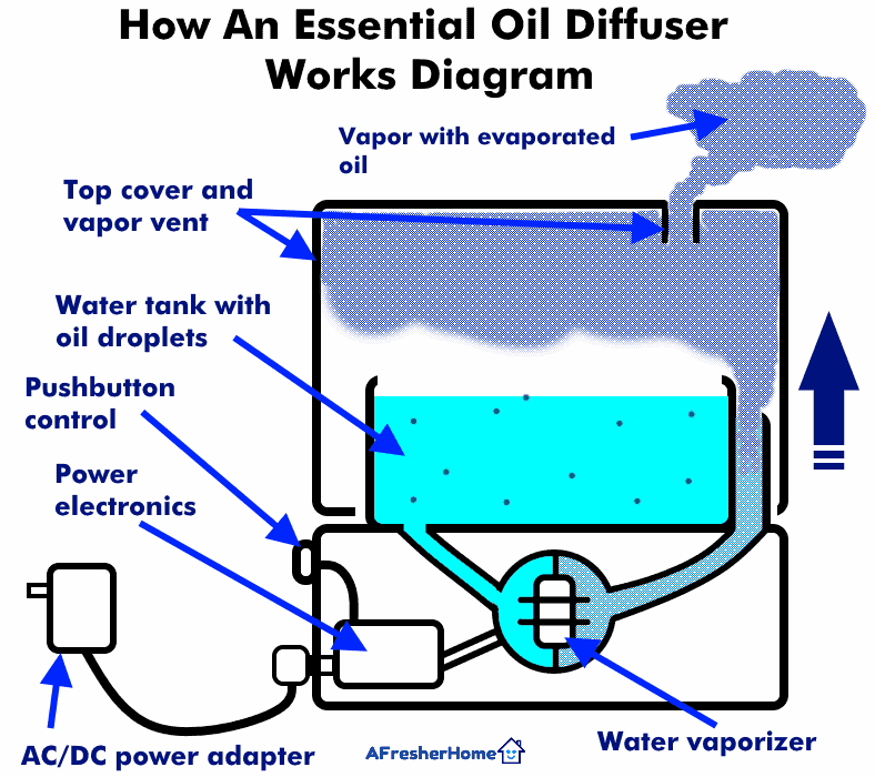 Illustrated diagram of how essential oil aromatherapy diffuser works