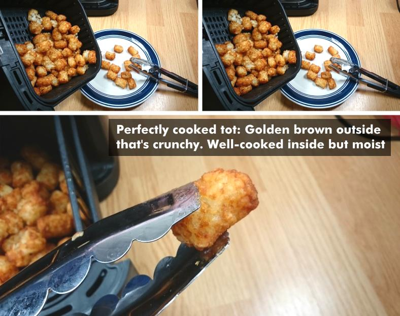 Image showing a perfectly cooked tater tot example and empty the cooked food from air fryers