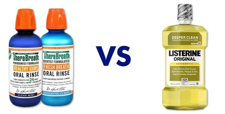 TheraBreath vs Listerine mouthwash comparison image