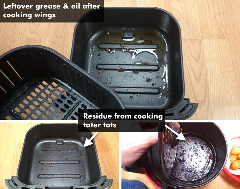Image showing leftover oil & grease in air fryers for chicken wings vs tater tots