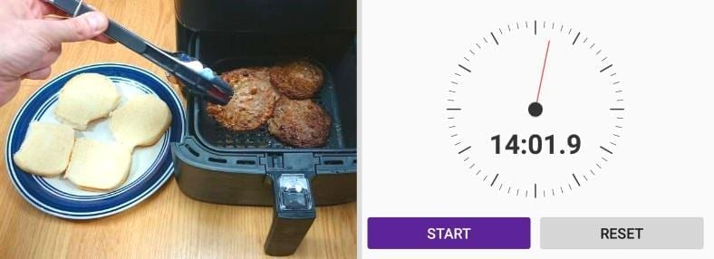 Image showing the measured cook time for cooking hamburgers in an air fryer