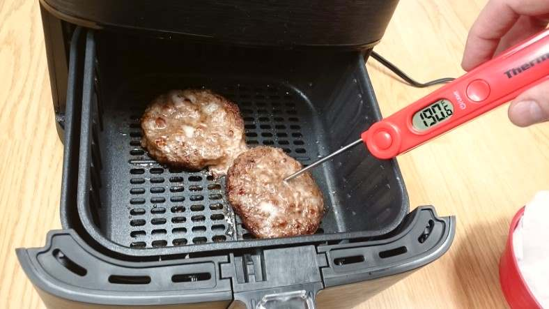 Image showing measure hamburger meat internal temperature with a ThermoPro TP03A digital thermometer