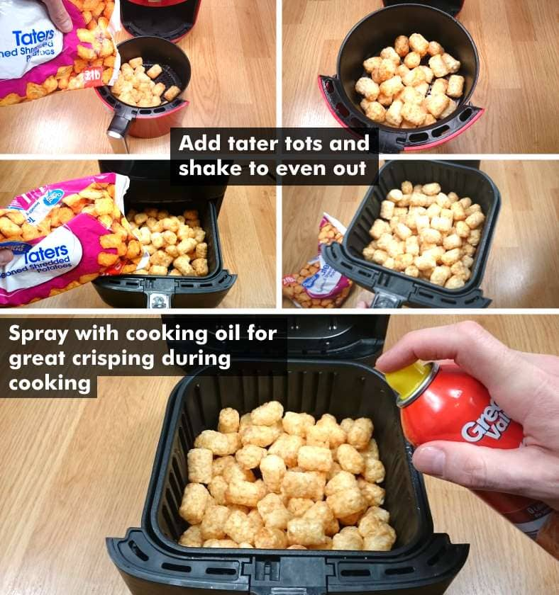 Image showing examples of how to prepare tater tots for cooking in air fryers