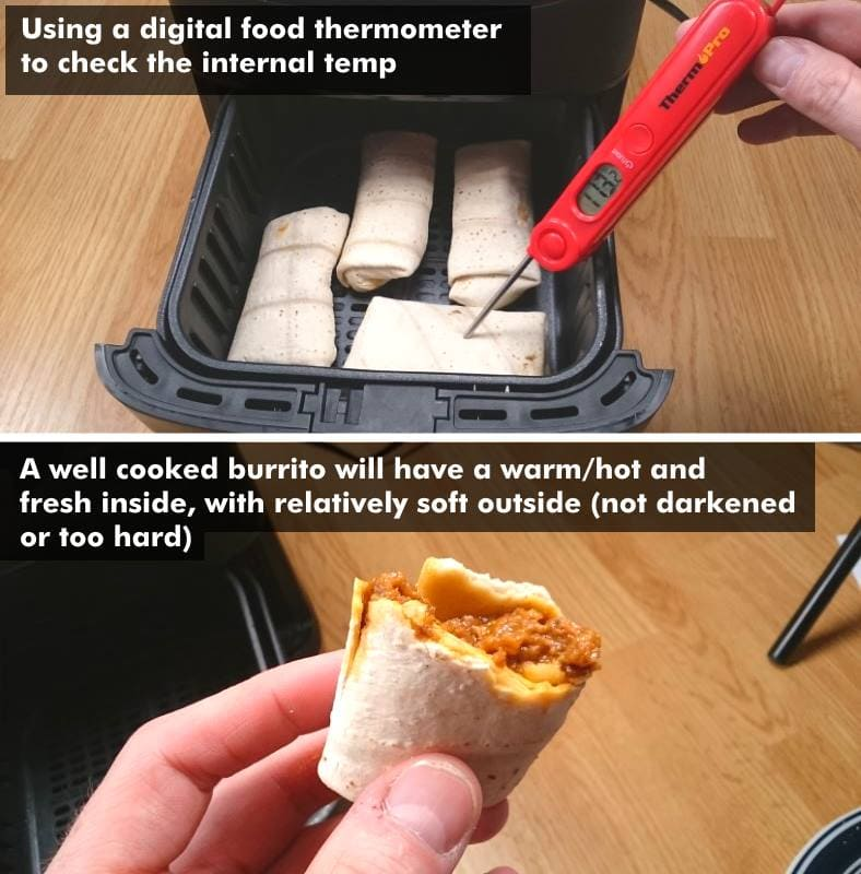 Image showing examples of properly cooked frozen burritos