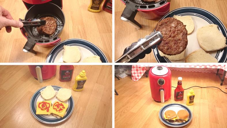 Images of finished hamburgers & cheeseburgers cooked and ready to eat