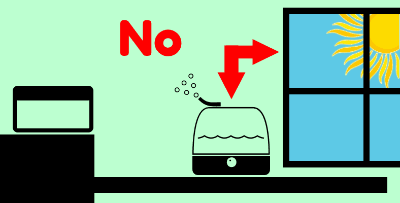 Diagram drawing warning against placing essential oil diffuser near a window
