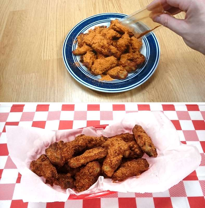 Image showing adding dry rub seasoning to wings after cooking and the finished basket of food