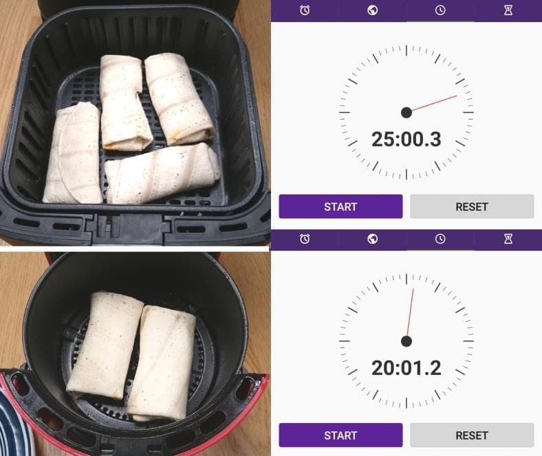 Image showing measured cooking times for frozen burritos