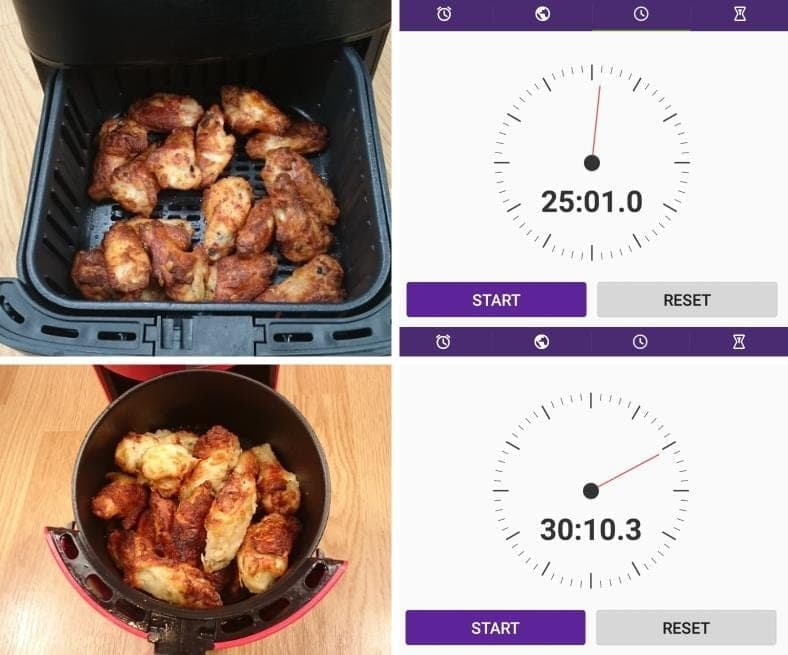 Image showing examples of measured cooking times for chicken wings