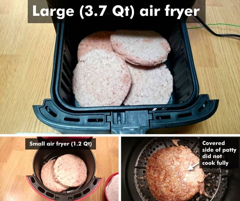 Examples of frozen hamburger patties placed in large & small air fryers