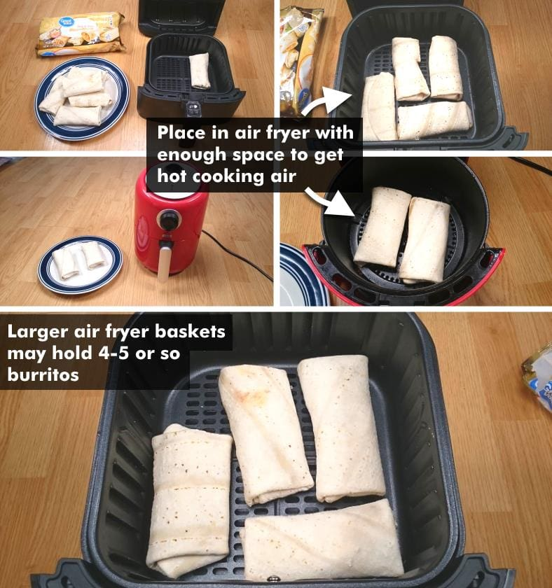 Images showing how to place frozen burritos in air fryer