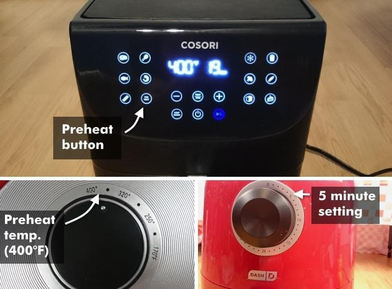 Image showing examples of preheating air fryers for frozen hamburgers