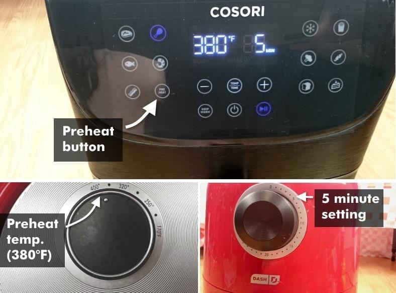 Image showing examples of preheating air fryers for cooking frozen chicken wings