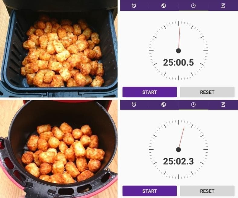 Image showing cooking times for frozen tater tots in air fryers