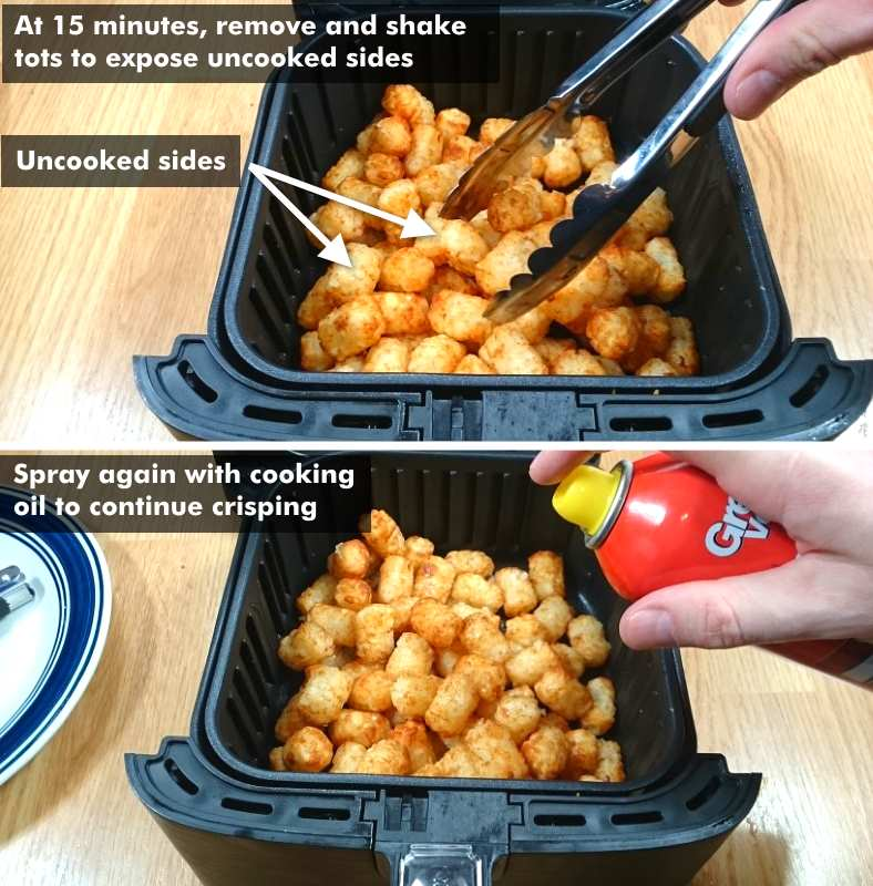 Labeled diagram showing checking and shaking tater tots after 15 minutes of cooking